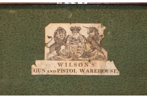 A Mahogany Fitted Case for A Pair of Flintlock Pistols with Original Wilson's Gun & Pistol Warehouse Trade Label, Circa 1785.