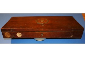 A Good 19th Century  Pistol Box with Circular Brass lifting handle & Rigby of Dublin Trade Label