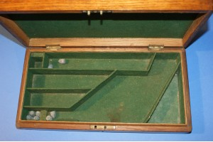 An English Mid 19th Century Golden Oak Pistol Case for A Percussion Revolver with Original Green Baize Lining.