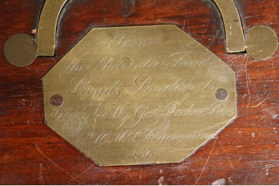 A Very Rare Lloyds Patriotic Fund Presentation Sword Box Presented to Sir William George Parker, Captain, R.N.