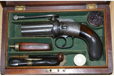 A Fine Cased Irish Percussion Pepperbox Revolver by W & J Rigby of Dublin