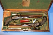 A Fine Cased Pair of Flintlock Duelling Pistols By Durs Egg, London