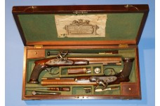 A Very Fine Cased Pair of Saw Handled Duelling Pistols by John Prosser of London