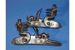 A Fine Pair of French Flintlock Sporting Gun Locks with Gold Makers Stamp