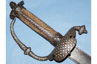 17th Century English Hanger with a Silver Pointille Work Hilt