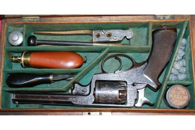 A Very Nice Engraved 54 Bore Beaumont Adams Percussion Revolver in Original Oak Fitted Case