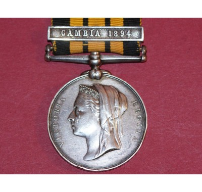 Ashantee Medal with Gambia 1894 Clasp to E Underwood, A.B. H.M.S. Satellite.