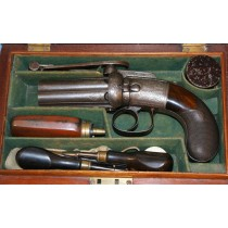 Cased Irish Percussion Pepperbox Revolver by W & J Rigby, Dublin