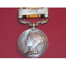 South Africa Medal with 1879 Clasp to Pte M Africa,Herschel Mounted Volunteers.